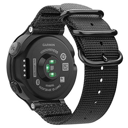 Fintie for Garmin Forerunner 235 Watch Band, Soft Nylon Sport Straps Replacement Watch Bands for Garmin Forerunner 235/220/230/620/630/735XT, Black