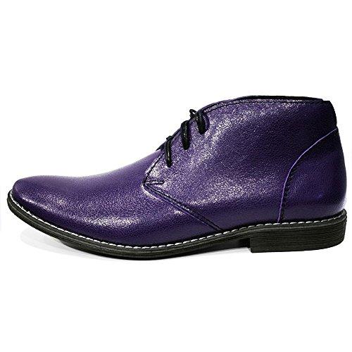 PeppeShoes Modello Chubrio - Handgemachtes Italienisch Leder Herren Lila Stiefeletten Chukka Stiefel - Rindsleder Weiches Leder - Schnüren