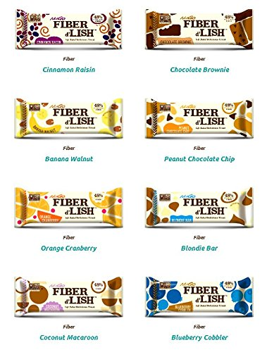 NuGo Fiber D'Lish Bar 8 Flavor Variety Pack (Pack of 16) by NuGo