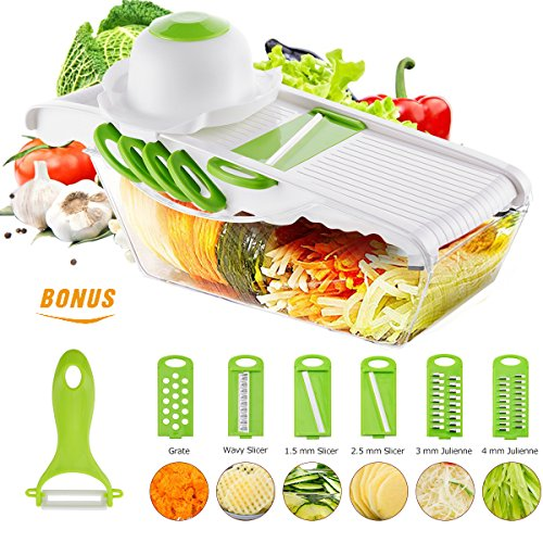 Mandoline Vegetable Cutter Slicer of Godmorn - 6 Interchangeable Blades with Peeler, Hand Protector,Storage Container - Cutter for Potato,Tomato, Onion, (Ceramic Mandoline Slicer)