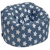 CHILDRENS BEANBAG - Kids Prints Bean bag Chair Seat (Graphite Stars)
