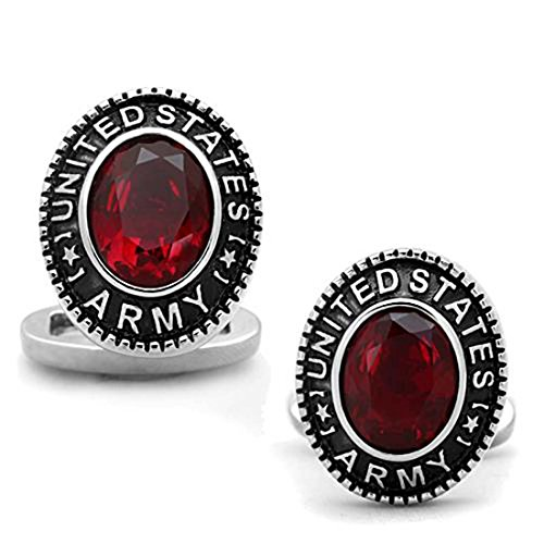 Crazy4Bling Stainless Steel Oval US Army Military Cufflinks with Siam Red Center (Stainless Steel Oval Cufflinks)