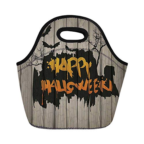 Halloween Decorations Durable Lunch Bag,Happy Graffiti Style Lettering on Rustic Wooden Fence Scary Evil Artwork for School Office,11.0