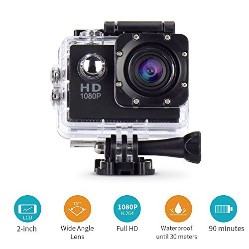 Action Camera Cresawis Sport Dv 1080P Mini 30 Meter Waterproof 2 Inch Tft Lcd Hd 5Mp Helmet Camera Cam Extreme Action Camcorder With Battery  Charger And Accessories  Black