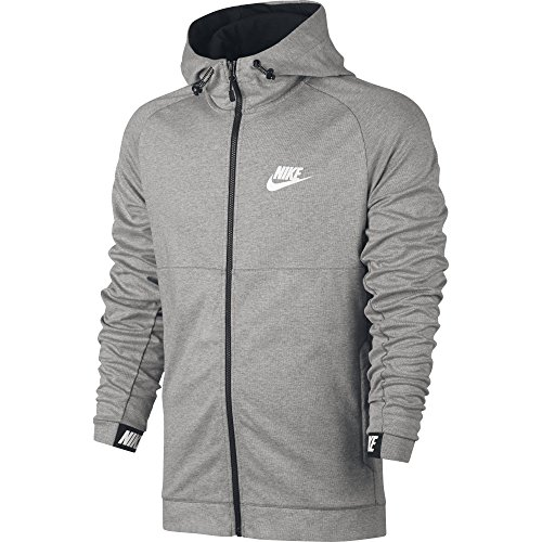 NIKE Men's Sportswear Advance 15 Hoodie Dark Grey Heather/Black/White Size Large