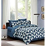 Modern Strip 8-piece Bed in a Bag Set Blue (Double/Full)