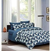 Modern Strip 8-piece Bed in a Bag Set Blue (King)