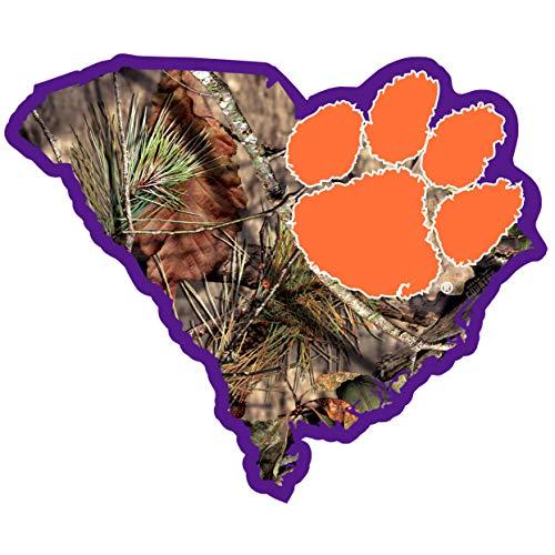 Siskiyou NCAA Clemson Tigers State Decal w/Mossy Oak Camo, Green
