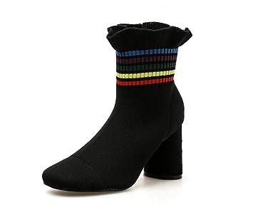 Volantes Dulces Botas Elásticas Botines Mujeres 8Cm Grueso Talón Redondo Zapatos De Vestir OL Corte Zapatos UE Tamaño 34-40: Amazon.es: Deportes y aire ...
