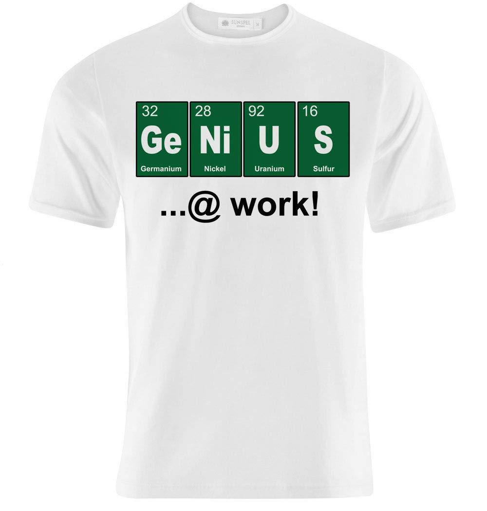T-shirt uomo Genius at work, genio al lavoro, tavola periodica divertente!