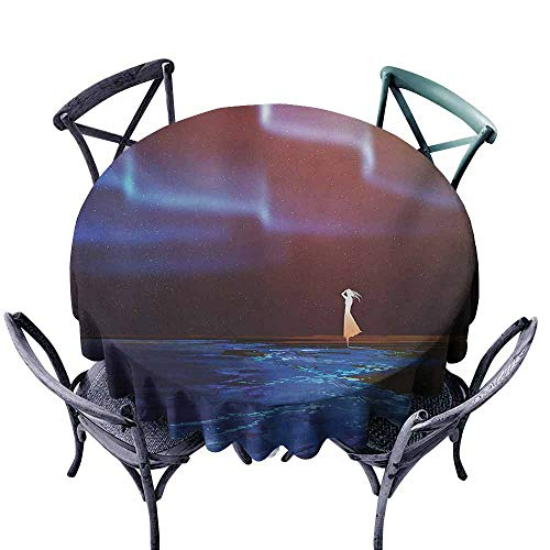Lgckeg Dust-Proof Tablecloth Fantasy Woman on Beach Psychedelic Design Aurora Borealis Sky Star Nature Picture Print Blue Purple Easy to Clean D43 (Best Cabins On Aurora)