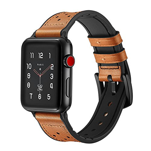 Soon Compatible Apple Watch Band 42mm 44mm, Sweatproof Genuine Leather and Rubber Hybrid Replacement fit iWatch Series 4 3 2 1 Sports & Edition - Brown