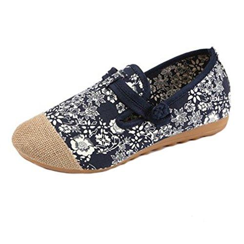 Giy Dames Retro Loafers Platte Mocassin Slip Op Gesp Bloemen Comfort Linnen Casual Canvas Oxfords Schoenen Blauw