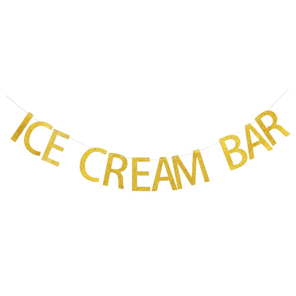 Ice Cream Bar Banner, Gold Gliter Paper Sign Decors for Ice Cream Theme Party/Birthday/Wedding/Engagement/Baby Shower Party by GRACE.Z
