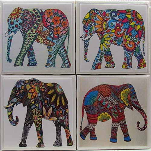 Ceramic Tile Coasters - Painted Elephants - Set of 4 - Custom Made To Order - Check out more designs by typing in - Made Perfect Coaster Company - We ()