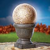 Collections Etc Amber Ball Solar Garden Light On Pedestal