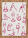 Yoga Area Rug by Ambesonne, Doodle Style Women Figures Various Exercise Poses Workout Health Lifestyle Bodycare, Flat Woven Accent Rug for Living Room Bedroom Dining Room, 5.2 x 7.5 FT, Pink White