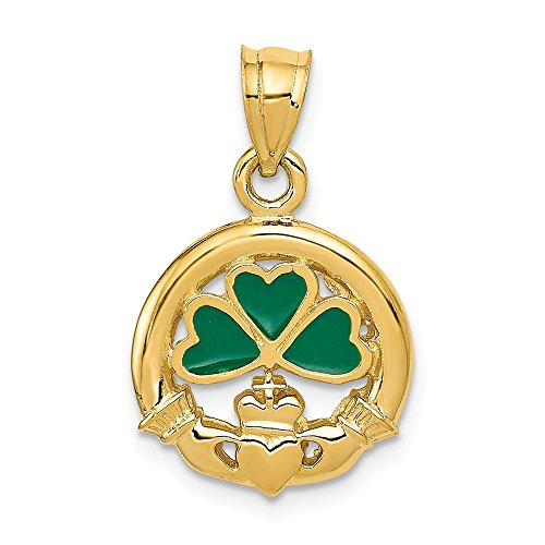 14k Yellow Gold Enameled Irish Claddagh Celtic Knot Pendant Charm Necklace Fine Jewelry Gifts For Women For Her