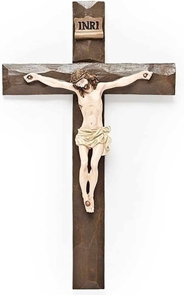 Jesus Driftwood Textured Crucifix 12 Inch Hanging Wall Cross