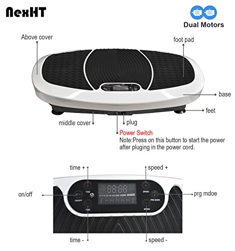 NexHT Dual Motors Fitness Vibration Platform,Whole Body Shape Exercise Machine (89013A),Vibration Plate Fit Massage Workout Trainer with Resistance Bands &Remote, Max User Weight 330lbs,White by NexHT (Image #3)