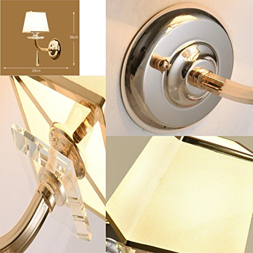 Wall Lamp Stainless Steel Wall Lamp LED Wall Light Crystal Wall Lamp Living Room Bedroom Corridor Fabric Luxury Hotel Bedroom Crystal Wall Lamp by Eif (Image #2)