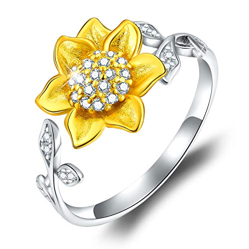 Esberry 18K Gold Plating 925 Sterling Silver Sunflower Open Ring 3D Flower Shape Adjustable Ring Jewelry for Women and Girls (Yellow Gold)