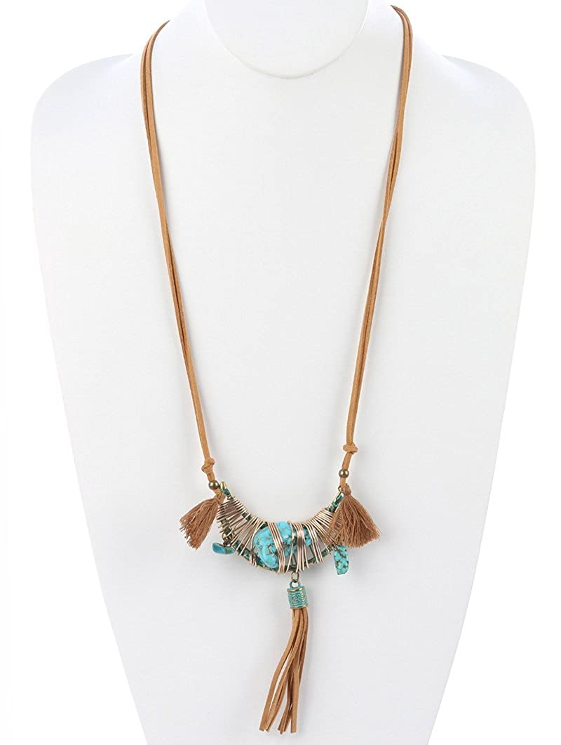 FB Jewels Solid Natural Stone Charm Faux Suede Tassel Textured Crescent Metal Aged Finish Wire Wrapped Cutout Necklace