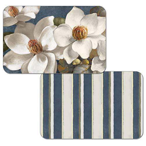 - Counterart Reversible Set of 4 Wipe-Clean Decofoam Placemats - Magnolia on Blue