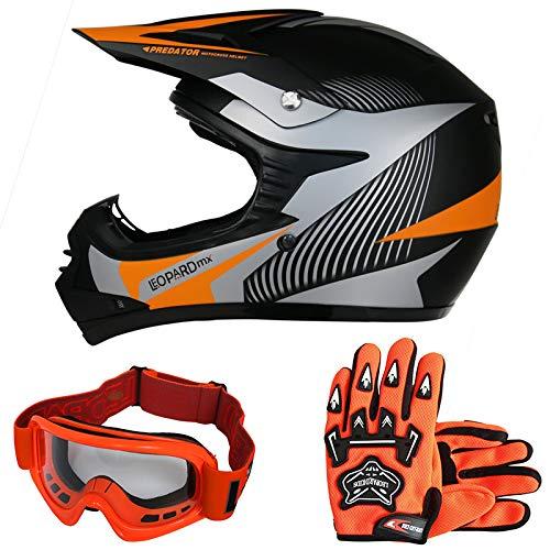 Leopard LEO-X19 Kinder Motocross MX Helm { Motorradhelm + Handschuhe + Brille} Orange M (51-52cm) ECE Genehmigt Crosshelm Kin