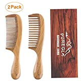 Handmade Wooden Comb Set [Gift Box] - pureGLO Natural Green Sandalwood Anti-Static Fine & Wide Tooth Hair Combs for Men...