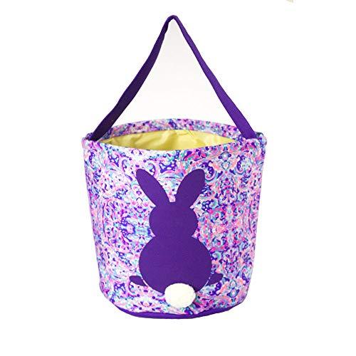 Easter Basket Easter Bucket for Kids Bunny Bag for Easter Hunt (ND-Purple)]()
