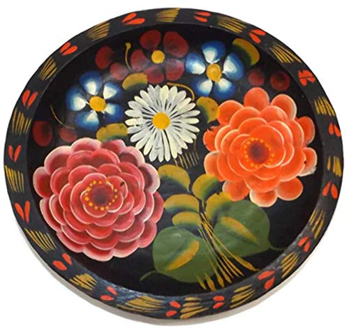 - Vintage Hand-Painted Floral Mexican Folk Art Wooden 9 Inch Batea Bowl