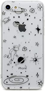 TNCY Space Cartoon Design Clear Bumper Cover Soft TPU Rubber Skin Phone Case Compatible with iPhone 7 iPhone 8 4.7 inch,iPhone SE 2020/SE2