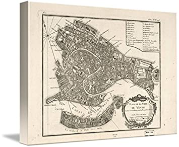 picture relating to Printable Map of Venice identified as : Wall Artwork Print Enled Traditional Map of Venice