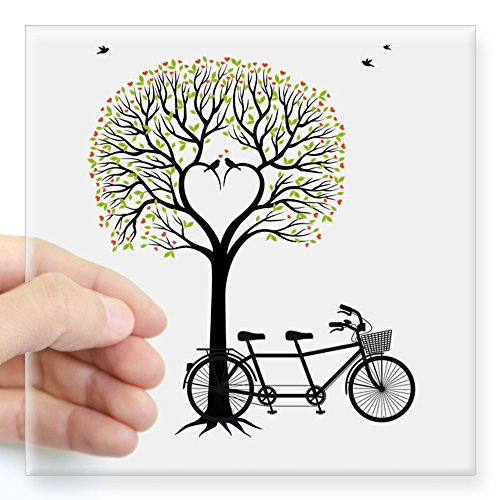 CafePress - Heart tree with birds and tandem bicycle Sticker - Square Bumper Sticker Car Decal, 3