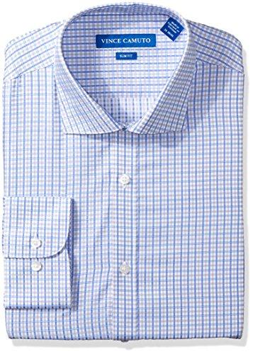 - VINCE CAMUTO Men's Slim Fit Sateen Check Dress Shirt, Blue/Gray, 16.5 34/35