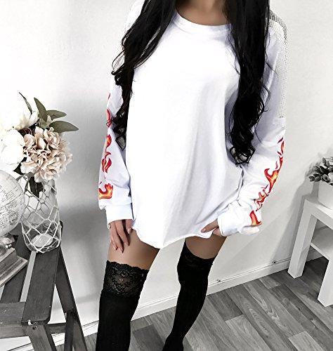 CoCo Fashion 2018 Damen Shirt Langarm Netzoberteil Lose Bluse Sweatshirt Blumen Frühling (EU S, Weiß)