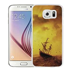 NEW Unique Custom Designed Samsung Galaxy S6 Phone Case With Sea Storm Waves Old Ship_White Phone Case