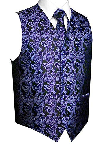 Black / Paisley Purple - Brand Q Men's 3pc Paisley Vest Set-Purple/Black-3XL