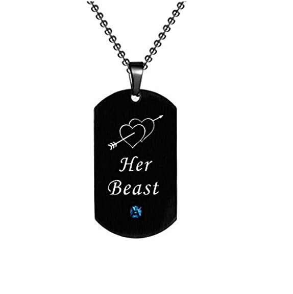 e7f6ccf482 Malsyi Lovers Couples Stainless Steel Dog Tag Pendant Necklace Set for His  and Hers Valentine's Jewelry Gifts (Beast&Beauty) | Amazon.com