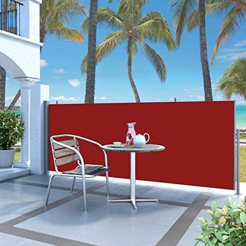 引き込み式サイドオーニング140 x 300 cm赤い家の庭芝生の庭屋外の生活屋外の傘サンシェード