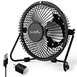 usb electric fan - PrettyCare USB Desk Fan (Powerful Airflow/ A Free Adapter) Personal Mini Fan - Small Table Fan with Pedestal/ Air Radiator for Laptop, Quiet and Portable for Desktop Tabletop Floor Office Room Travel