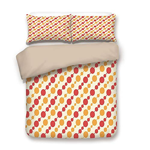 - iPrint Duvet Cover Set,Back of Khaki,Kids,Diagonal Chain Pattern with Big and Small Dots on Lines in Shabby Colors,Scarlet Marigold Cream,Decorative 3 Pcs Bedding Set by 2 Pillow Shams,Full