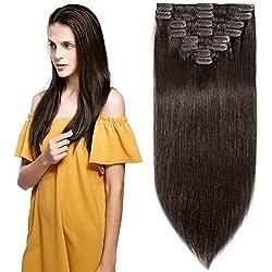 "Clip in Hair Extensions Human Hair Full Head 8 Pieces 18 Clips 100% Real Silky Human Hair 24""-120g Dark Brown (#2)"