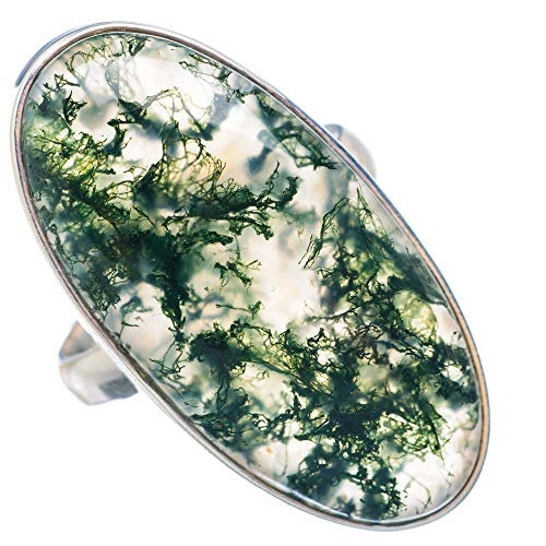 Large Green Moss Agate Ring Size 9.25 (925 Sterling Silver) - Handmade Boho Vintage Jewelry RING910093 ()
