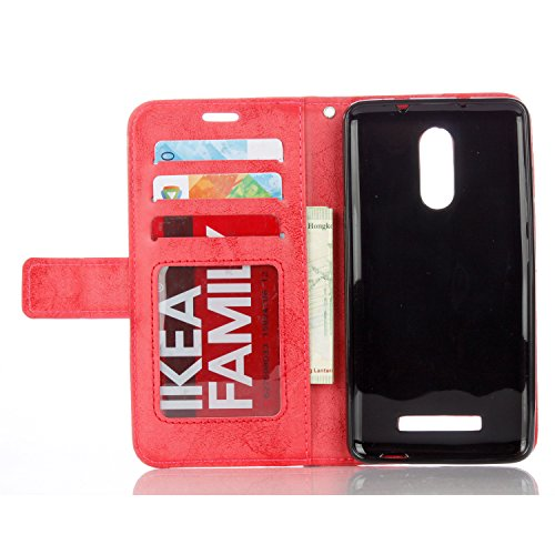 IKASEFU Xiaomi Redmi Note 3 Case,3D Clear Crown Rhinestone Diamond Bling Glitter Wallet with Card Holder Emboss Mandala Floral Pu Leather Magnetic Flip Protective Cover for Xiaomi Redmi Note 3,Red by IKASEFU (Image #1)