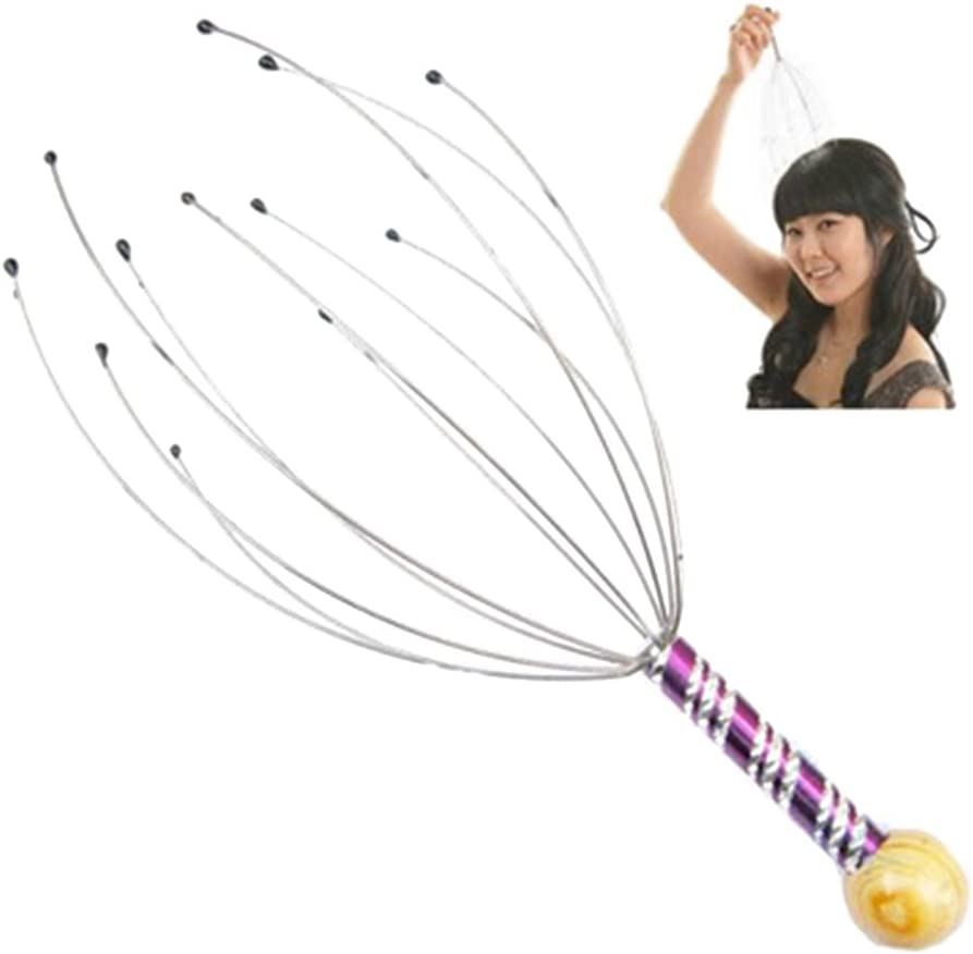 Scalp Massager, Hand Held Therapeutic Head Scratcher Steel Wire Hair Head Massager with Wooden Handle, 5pcs