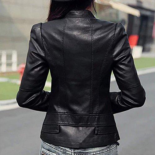 Mujeres Delgado Para La Motorista De La Motocicleta De La PU De Cuero Suave Capa De La Cremallera De La Chaqueta Negro