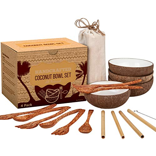 Coconut Bowl Set - 4 Bowls, Spoons, Forks, and Bamboo Straws - 100% Natural, Vegan, Organic, Handmade - Ideal Gift for Vegans, for Smoothie, Acai, Salad, - Coconut Bowl