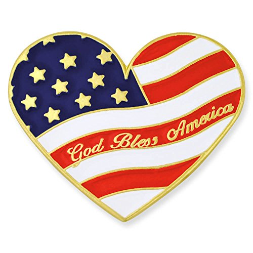 - PinMart Heart Shaped American Flag God Bless America Lapel Pin